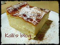Kalli's blog: Γαλατόπιτα Μεσσηνιακή( χωρίς φύλλο) (in English too) Greek Sweets, Greek Desserts, Greek Recipes, Sweets Recipes, Pie Recipes, Recipies, Greek Pastries, Custard Cake, Sweet Pie