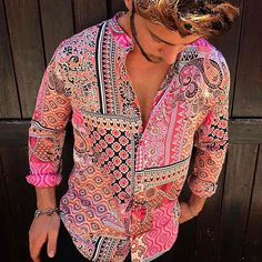 Men's Casual Vintage Printing Thin Section Blouse Men's Casual Vintage Shirts Pink Size 8 Yatacity, Shirt Mens Work Shirts, Mens Printed Shirts, Cool Shirts, Casual Shirts, Casual Outfits, Men Casual, Dress Casual, Shirt Men, Mens Fashion Wear
