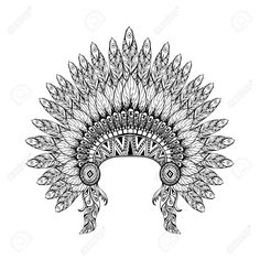 Desenhado Mão Capota Da Guerra Emplumada No Estilo Do Zentangle, Alta Cocar Datailed Para Indian Chief. Americana Espírito Boho. Desenho Vetorial Esboço Para Tatuagens. Royalty Free Cliparts, Vetores, E Ilustrações Stock. Image 51459381.