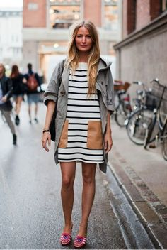 I want this dress. Love the stripes and leather pockets.
