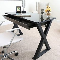 Walker Edison Furniture Company Home Office 48 in. Glass and Metal White Computer Desk – The Home Depot – Glass Office Desk Black Desk, Black Glass Computer Desk, Black Office Desk, Computer Desks, Black Glass Desk, Home Office Desks, Home Office Furniture, Furniture Deals, Office Decor