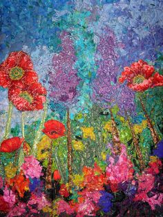 Floral Art Quilts From Our Readers - Ellen's Blog - Quilting Daily Impressionist style quilt, done with small fabric pieces