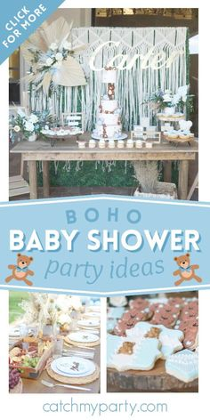 Take a look at this adorable teddy bear boho baby shower! The party decoration sare gorgeous! See more party ideas and share yours at CatchMyParty.com #catchmyparty #partyideas #teddybears #teedybearparty #bohoparty #babyshower #bohobabyshower #teddybearbabyshower