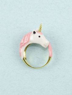 No lo quiero, LO NECESITO!!!!! Pink Unicorn Ring by Mödernaked on Young Republic - http://www.youngrepublic.com/jewelry/rings/pink-unicorn-ring.html