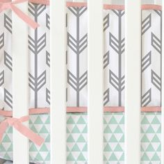 Coral and Mint Arrow Crib Bumpers by CadenLaneBabyBedding on Etsy
