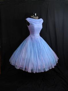 Vintage 1950's 50s Periwinkle Blue Lilac Ruched by VintageVortex, $249.99