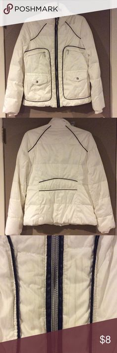 MYSTIC  White w/ Black Trim Puffy Coat Description: Zippered high neck closure. Six frontal pockets. Slight watermarks around black trim as seen in third picture (not really noticeable). The filling is 50% Down and 50% Water fowl feathers. Ribbed knit cuffs. back of neck to hem: 25 inches. Condition: Good condition. Smoke free home! Ask questions before you purchase! Mystic Jackets & Coats Puffers