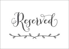 Instant Download Reserved Sign - Wedding Reception Signage, Wedding ...