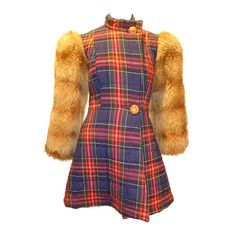 Betsey Johnson for Alley Cat 1970s Plaid Wool + Faux Fur Jacket