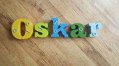 Oskar - hand painted one off made to order 3d baby name letters set available from www.lemonsigns-shop.com