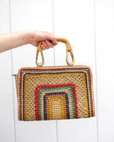Vintage Colorful Woven Cane Purse with Bamboo Handles