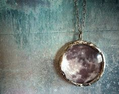 See You on the Dark Side of the Moon Necklace - Large Glass Lens Pendant with Oxidized Sterling Silver Chain, by RenataandJonathan via etsy