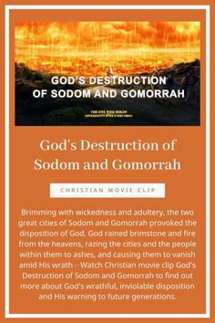 Brimming with wickedness and adultery, the two great cities of Sodom and Gomorrah provoked the disposition of God. Good Christian Movies, Christian Films, Choir Songs, Learn The Bible, Sodom And Gomorrah, Jesus Second Coming, Choirs, Worship God, Move Mountains