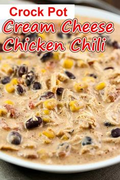 Cream Cheese Chicken Chilli, Butter Chicken, Crockpot White Chicken Chili, Easy Creamy White Chicken Chili Recipe, Creamy Chicken Chili Recipe, Crock Pot Chili, Chicken Taco Soup, Crock Pot Soup, Cooker Recipes