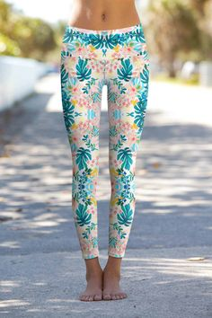 Aquarelle Lucy Blue Floral Print Performance Leggings Yoga Pants These eco-friendly printed performance high waisted leggings are made from the highest quality, most opaque, soft stretch fabric with excellent shape recovery. Kundalini Yoga, Athleisure, Camouflage Leggings, Black And White Shorts, Women's Leggings, Tights, Dance Leggings, Leggings Store, Cheap Leggings