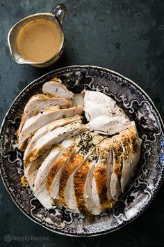 Roasted turkey breast with a rich gravy made with roasted garlic and pan drippings. ~ SimplyRecipes.com