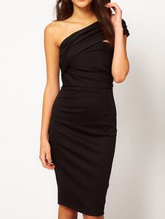 Solid Color Sleeveless One-Shoulder Slit Back Design Knee-Length Women's Dress, BLACK, XL in Casual Dresses | DressLily.com