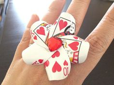 Queen of Hearts Playing Card Cocktail Ring by LittleAsianSweatshop, $18.00