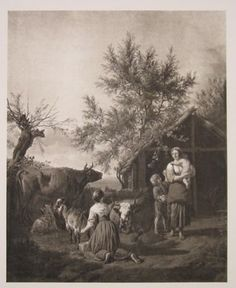 """milking the goat london 19thC sepia lithograph 10 x 12.5"""" $210"""
