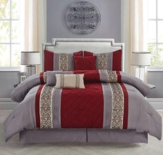 Burgundy/Gray Scroll Embroidered Comforter Set