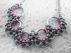 Pink Aluminum Japanese Lace Chainmaille Necklace by ASilverDragonfly
