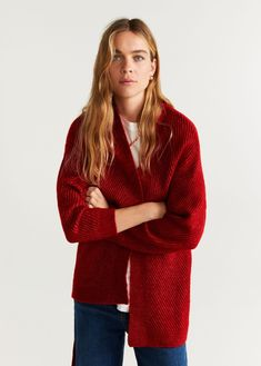 Thick knitted fabric Unstructured design Long sleeve Loops Removable bow on the waist Mango, Chunky Knit Cardigan, Cardigans For Women, Knitted Fabric, United Kingdom, Knitting, Long Sleeve, Sweaters, Products