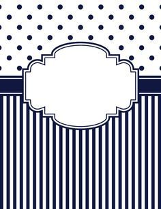 Free printable navy blue polka dot and stripe binder cover template. Download the cover in JPG or PDF format at http://bindercovers.net/download/navy-blue-polka-dot-and-stripe-binder-cover/
