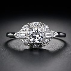 .33 Carat Platimum and Diamond Art Deco Engagement Ring. 1930s Granat Bros. Lang Antiques.