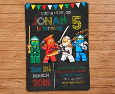 Ninjago Invitation Card for your children. Size of the Invitation: 5 x 7 inch (4 x 6 inch upon request) Resolution of the Invitation: 300 dpi *********HOW TO ORDER********* 1) Choose and purchase the design you like. 2) When checking out, please add a note to seller with following