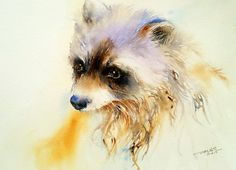 Raccoon Animal Painting Wall Art Watercolor Original por artiart