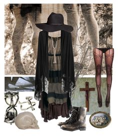 """""""Southern Gothic Witch: Your Time Is Up"""" by bloodmoonsuccubus ❤ liked on Polyvore featuring Pieces, Coven, Cooper by Trelise, RSN Boheme, Hourglass Cosmetics, Valentino, AllSaints, Rachel Entwistle, H&M and LowLuv"""
