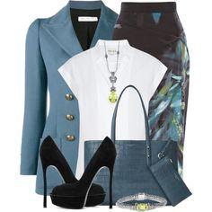 Printed Pencil Skirt & Blazer