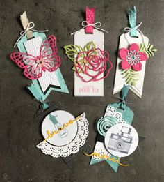 TAG Gift Tags by Marie Meyer Stampin up – scrapboo workshops … Card Tags, Gift Tags, Marie Meyer, Stampin Up, Album Diy, Flower Box Gift, Karten Diy, Diy Scrapbook, Scrapbooking Layouts