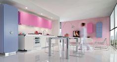 idée de décoration de cuisine en rose et bleu