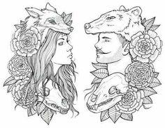 amazing sketch couple wolf tattoo