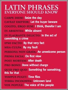 Latin phrases everyone should know. Also that I don't want to forget!!!!! Something I heard recently is that YOLO is the new young generation's CARPE DIEM. I'm not a fan of YOLO guess that makes me old. I'm proud of my CARPE DIEM!! I would much rather be well read and educated then pop culture savvy.
