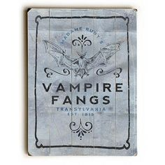 Vampire Fangs by Artist Dave Diller Wood Sign