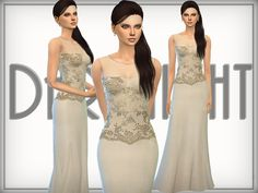 The Sims Resource: Silk - Blend Gown by Aveira • Sims 4 Downloads