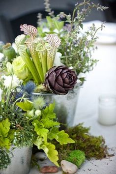 Natural tablescape using herbs {Wedding Planning: www. Herb Wedding, Fall Wedding, Wedding Flowers, Wedding Stuff, Dream Wedding, Edible Garden, Love Flowers, Event Decor, Wedding Inspiration