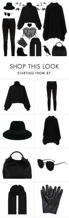 """Black Bird Monochrome"" by orglioness on Polyvore featuring Diesel, AMIRI, Maison Michel, Emporio Armani, Elleme and Z Zegna"