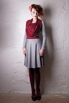 Mirabelle - Kleid mit Kragen *grau / weinrot* von BERON auf DaWanda.com