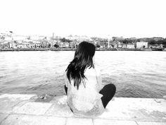 ....Just breathe.... Fotografia preto e branco. Porto, foz do rio Douro, 2015