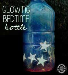Daily routine description: Rest time. I believe this glowing bedtime bottle is a great idea. The teacher would of course make the mixture and tape or glue the cap shut so the toddlers could not open the seal. Toddlers who are fighting going to sleep can shake this bottle or count the stars to comfort them so they can fall asleep.  Developmental domain: physical health and well being.  Developmental Indicator: PW39 The young todler follows familiar sleep routines.