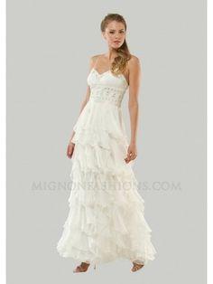 Full Length Ruffle Layered Dress With Bead Embellished Empire Waist