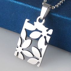 Leaf Flower pendant pewter charm stainless steel plus Free Chain Necklace