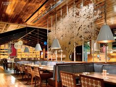 A laser-cut steel tree serves as a partition in the dining room at Founding Farmers. Photography by Eric Laignel.