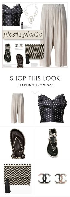"""""""pleats, please"""" by fassionista ❤ liked on Polyvore featuring Pleats Please by Issey Miyake, Azzaro, Étoile Isabel Marant, Rebecca Minkoff, Kenneth Cole, Clutch, sandals, crop, CasualChic and pleats"""