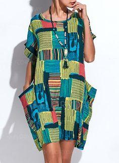 Vestidos Mezclas de algodón Raya Hasta las rodillas Manga corta (1041943) @ floryday.com