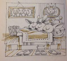 Kass János hungarian illustrator-sleeping bunnies