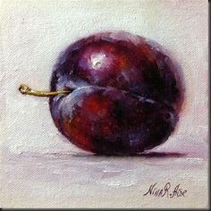 """Fancy Plum 2. oil on canvas panel 6x6 inches"" - Original Fine Art for Sale - © Nina R. Aide"